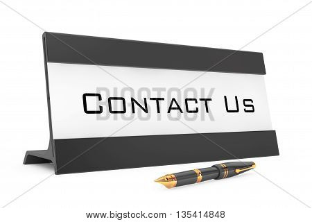 Horizontal Blank Table Card Tag with Contact Us Sign on a white background. 3d Rendering