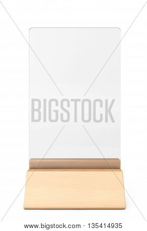 White Blank Transparent Table Plate Card on a white background. 3d Rendering