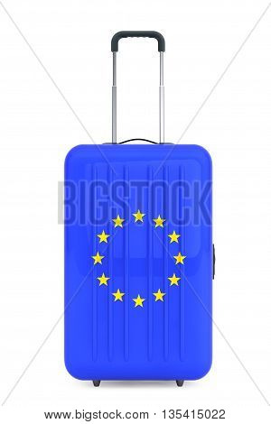 Travel to European Union concep. Suitcase with European Union flag on a white background. 3d Rendering