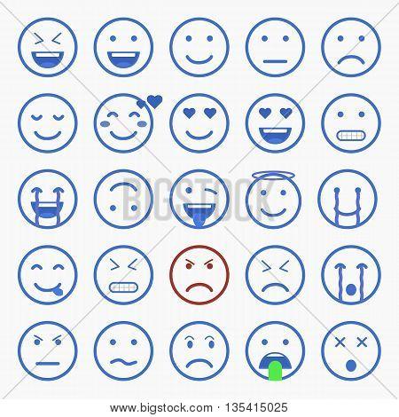 Set of Emoticons. Set of Emoji. Set of Avatar. Outline style illustrations - stock vector.