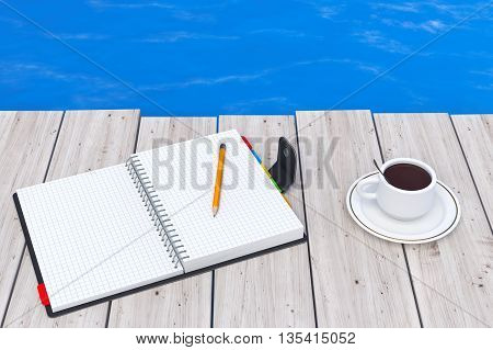 Personal Diary or Organiser Book with Pencil and Cup of Coffee in front of Ocean extreme closeup. 3d Rendering