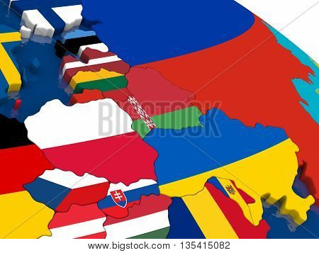 East Europe On 3D Map With Flags