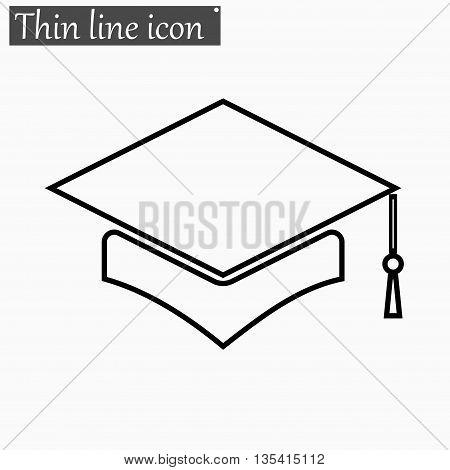 Mortar Board or Graduation Cap icon Vector Style Black thin line