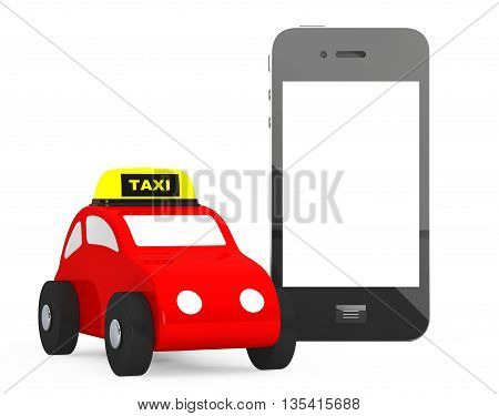 Toy Taxi Car with Mobile Phone on a white background. 3d Rendering