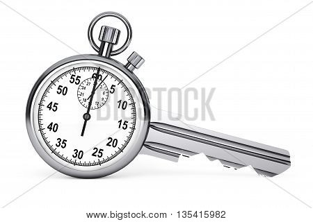 Time Management Concept. Stopwatch as Key on a white background. 3d Rendering
