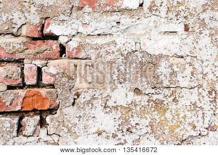 Damaged and old red brick wall background