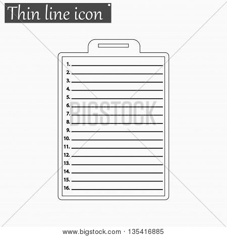 Clipboard with check list icon Vector Style Black thin line