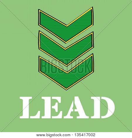 Three military stripes or chevrons denoting rank above the word LEAD in stencil type letters