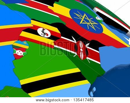 Kenya, Uganda, Rwanda And Burundi On 3D Map With Flags