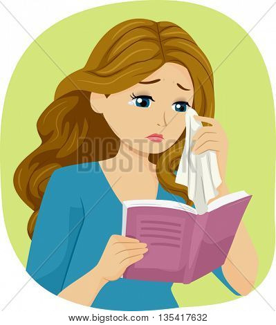 Illustration of a Teenage Girl Crying While Reading a Book