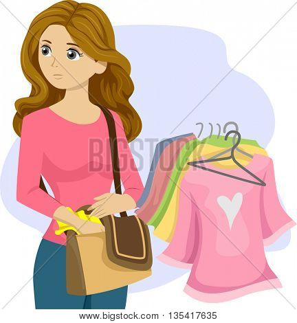 Illustration of a Kleptomaniac Teenage Girl Stealing Clothes