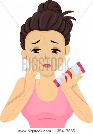 Illustration of a Teenage Girl applying makeup