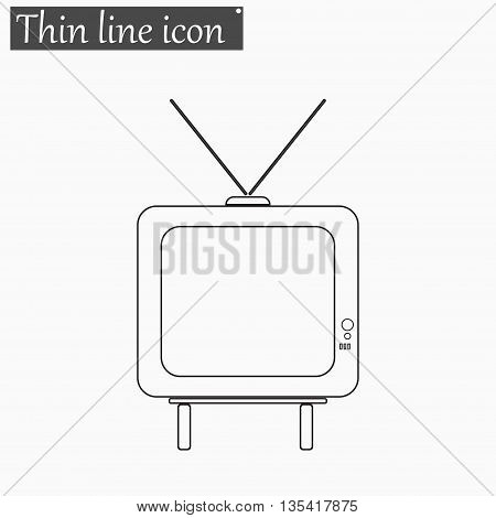 TV icon Vector Style Black thin line