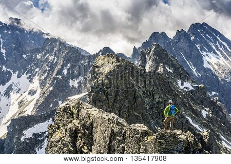 Standing On An Exposed Ridge.