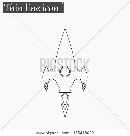 Rocket icon Vector Style Black thin line