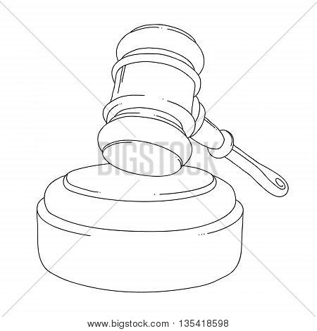 Auction hammer. Judge gavel isolated on white background. Silhouette