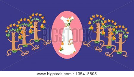 Card with floral summer female dress and funny pear trees. Fashion design. Vector illustration.