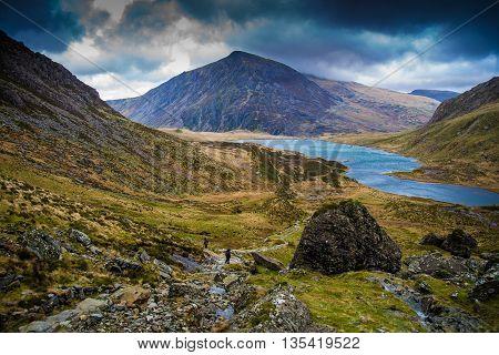 Pen yr Ole Wen overlooking Llyn Idwal, Ogwen Valley, Snowdonia