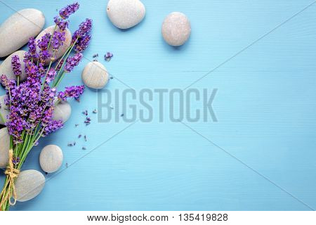 Spa still life with stones and lavenders