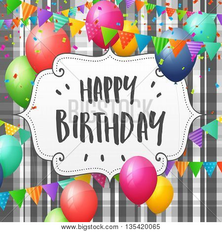 Birthday greeting card with balloons flags and confetti on striped background
