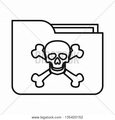 File folder with a skull icon in outline style isolated on white background