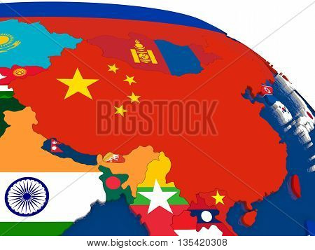 China On 3D Map With Flags
