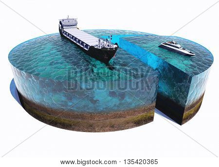 The tanker and the yacht at sea on a white background,3d render
