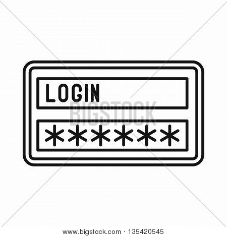 Login and password icon in outline style isolated on white background