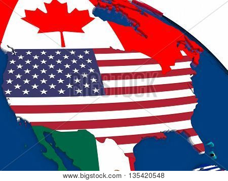 Usa On 3D Map With Flags