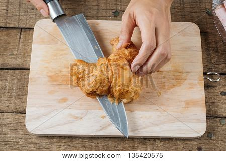 Food series : Making croissant sandwich, cutting croissant in half