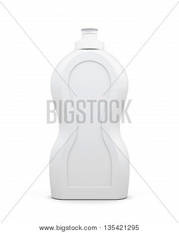 Empty bottle of detergent isolated on a white background. Household chemicals. Cleaning product. Front view. For your design. 3d rendering