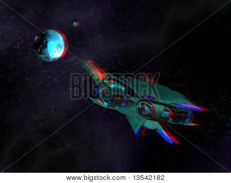 Alien space ship in the space with a stereoscopic effect