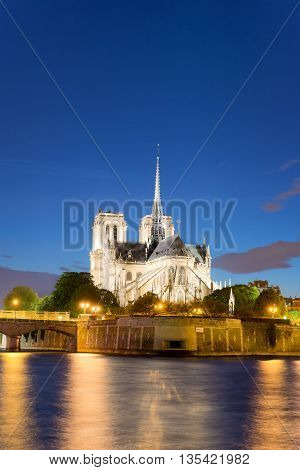 Paris France skyline - Cathedral of Notre Dame de Paris at sunset. Paris France. Paris is the capital city of France