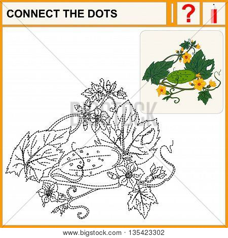 Connect the dots. Cucumber. Flat Design Style. Vector illustration. Cartoon vector Illustration.