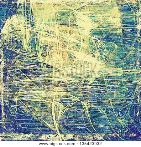 Damaged retro texture with grunge style elements and different color patterns: yellow (beige); brown; green; blue; cyan