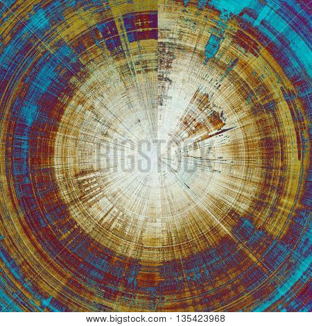 Spherical grunge texture in ancient style, aged background with creative decor and different color patterns: yellow (beige); brown; blue; purple (violet); cyan; white