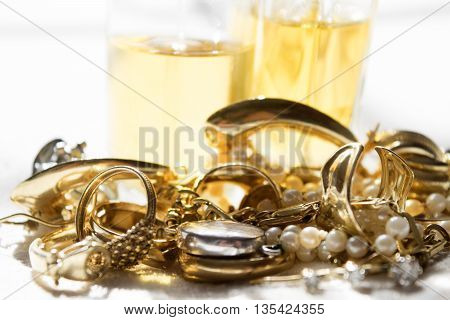 precious family jewelleries and glass perfume bottles