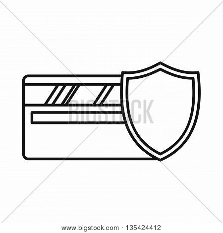 Credit card and shield icon in outline style isolated on white background