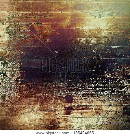 Abstract scratched background or frame with weathered grunge texture. Ancient style backdrop with different color patterns: yellow (beige); brown; blue; red (orange); purple (violet); black
