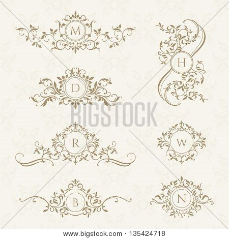 Monograms collection for cards invitations. Graphic design pages. Classic design elements for wedding invitations.