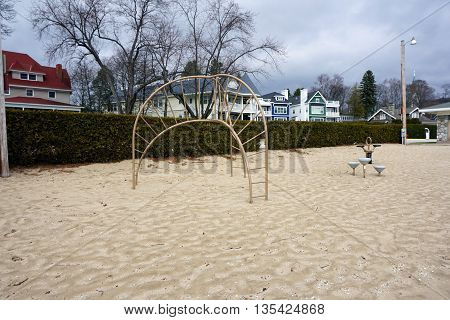 Children may climb and play on playground equipment at the Zorn Park Beach in Harbor Springs, Michigan.