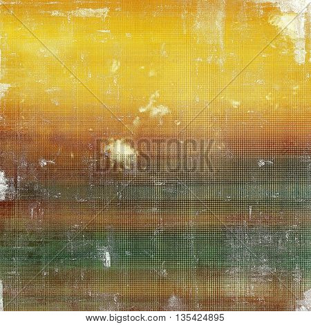 Distressed grunge texture, damaged vintage background with different color patterns: yellow (beige); brown; green; gray; red (orange)