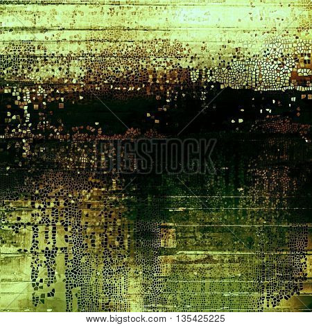 Aged grunge graphic background with shabby texture in vintage style and different color patterns: yellow (beige); brown; green; black
