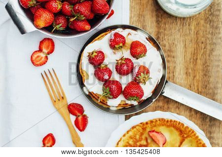 Strawberries And Whipped Cream  For Dessert. Pancakes With  Stra