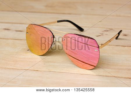 Fashion glasses , with mirror lenses .