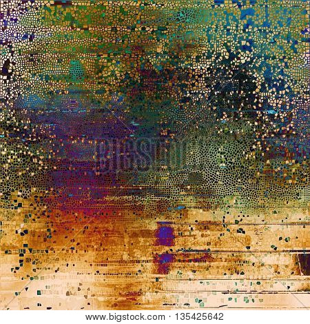 Aged grunge graphic background with shabby texture in vintage style and different color patterns: yellow (beige); brown; green; blue; red (orange); purple (violet)