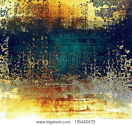 Vintage mottled frame, textured grunge background with different color patterns: yellow (beige); brown; blue; red (orange); cyan; white