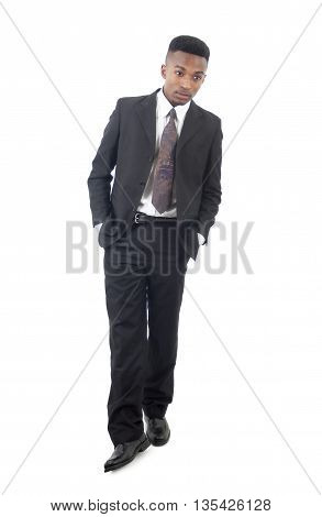 black suit and tie guy young businessman full length on white background