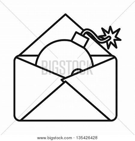 Envelope with bomb icon in outline style isolated on white background