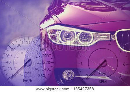 Speedometer on transparent background of  car